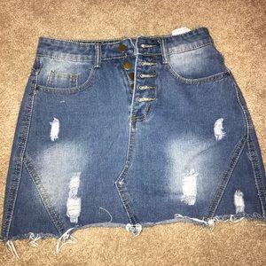 Distressed denim jean skirt!